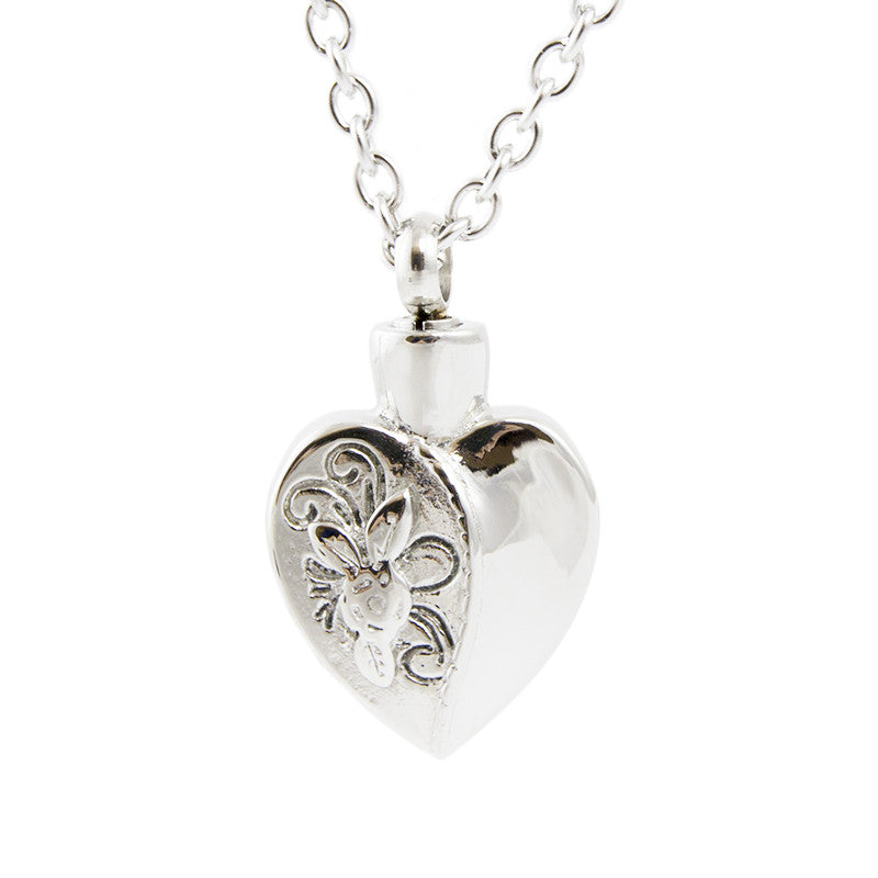 Cremation Necklace - Floral Heart