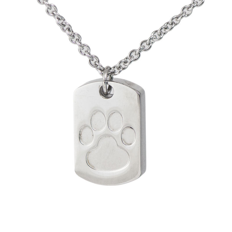 Paw Print Cremation Dog Tag Pendant
