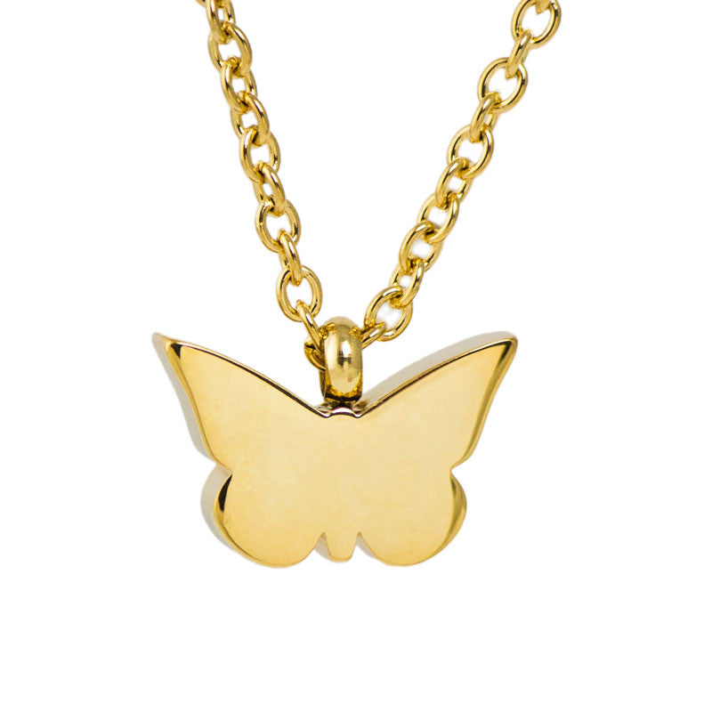 Golden Butterfly Stainless Steel Cremation Necklace