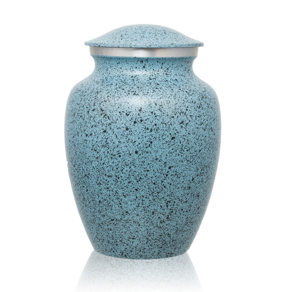 Two-Tone Light Blue Classic Cremation Urn - Medium