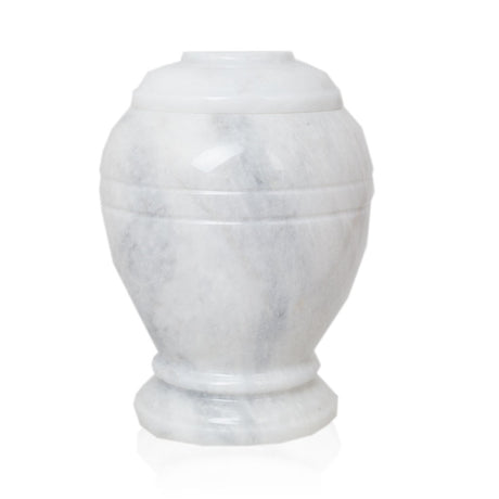 Ringed White Marble Cremation Urn - Extra Small