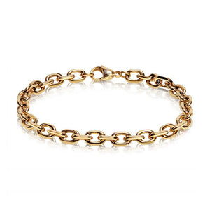 Men Bracelet - 7mm Cut Anchor Chain Link Gold Steel Bracelet