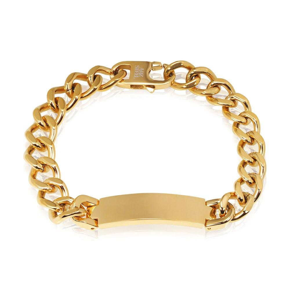 Men Bracelet - Engravable Gold Steel Cuban Link ID Bracelet