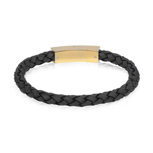 Men Bracelet - Gold Steel Black Italian Leather Bracelet