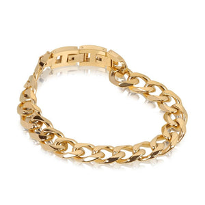 Men Bracelet - Gold Steel Cuban Link Bracelet