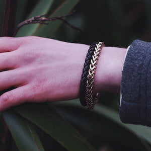 Gold Steel Franco Link Black Leather Bracelet