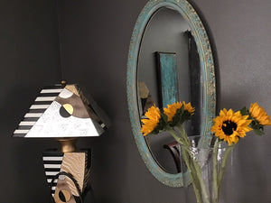 Vintage up-cycled mirror, turquoise, gold, photo prop, wood frame,