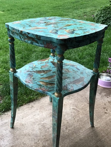 Bird side table, antique-est. 1940's, eclectic, abstract, teal, bird collage