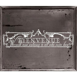 DÉCOR TRANSFERS – BIENVENUE WHITE APPROX 9.5″X17.75″