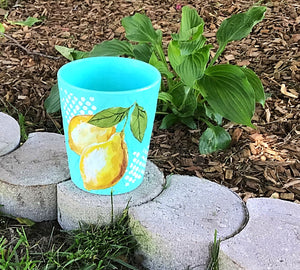 Planter, Ceramic Teal lemon  yellow, teal, diy paint, lemon white, IOD