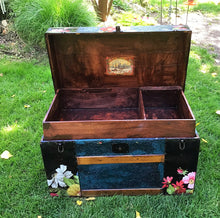 1920's trunk, coffee table, bohemian blue, wall flower IOD transfer, conversation piece, photo prop