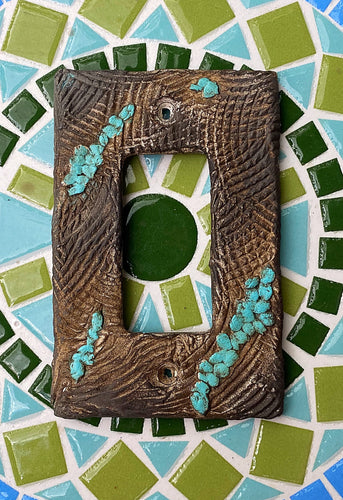 Faux turquoise and wood light switch cover, decorative