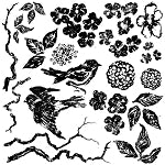 IOD BIRDS BRANCHES AND BLOSSOMS DECOR STAMP (12X12) Iron Orchid Designs