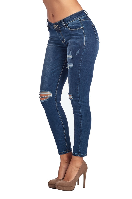 Distressed Relaxed Skinny Jeans