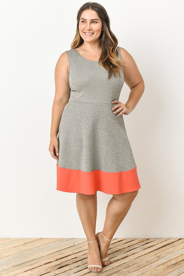 Coral Trimmed Dress-Plus