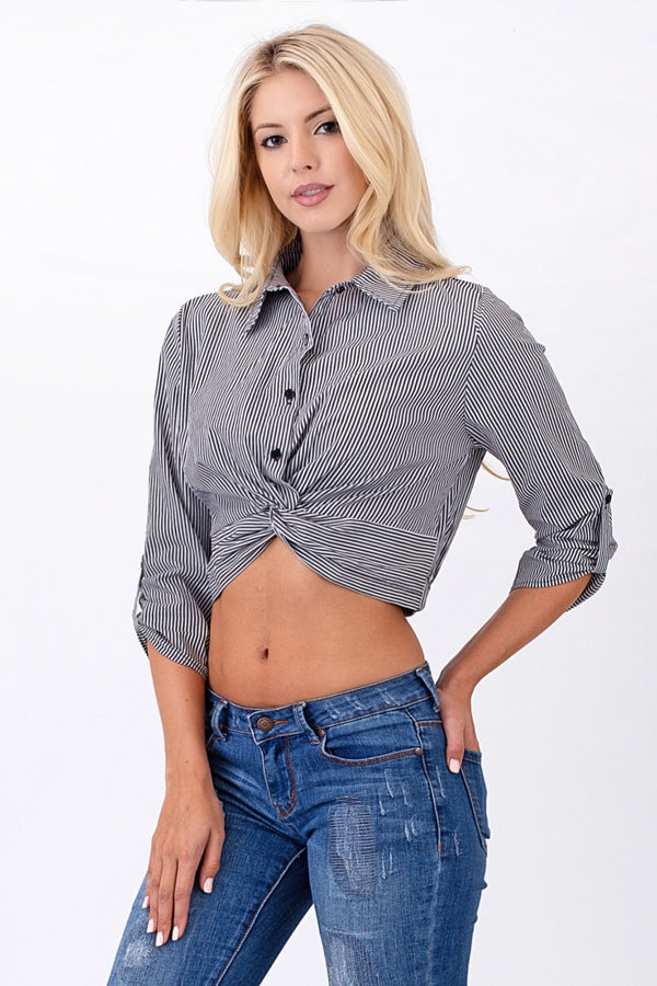 Twisted Cropped Blouse