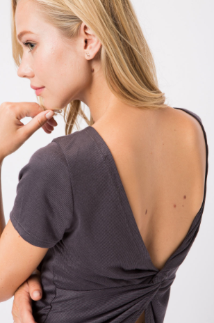 Open Back Twisted T-Shirt