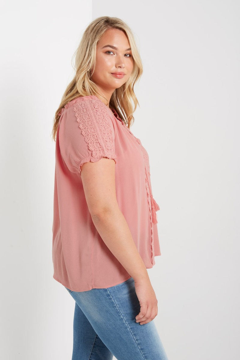 Short Sleeve Lace T-Shirt-PLUS