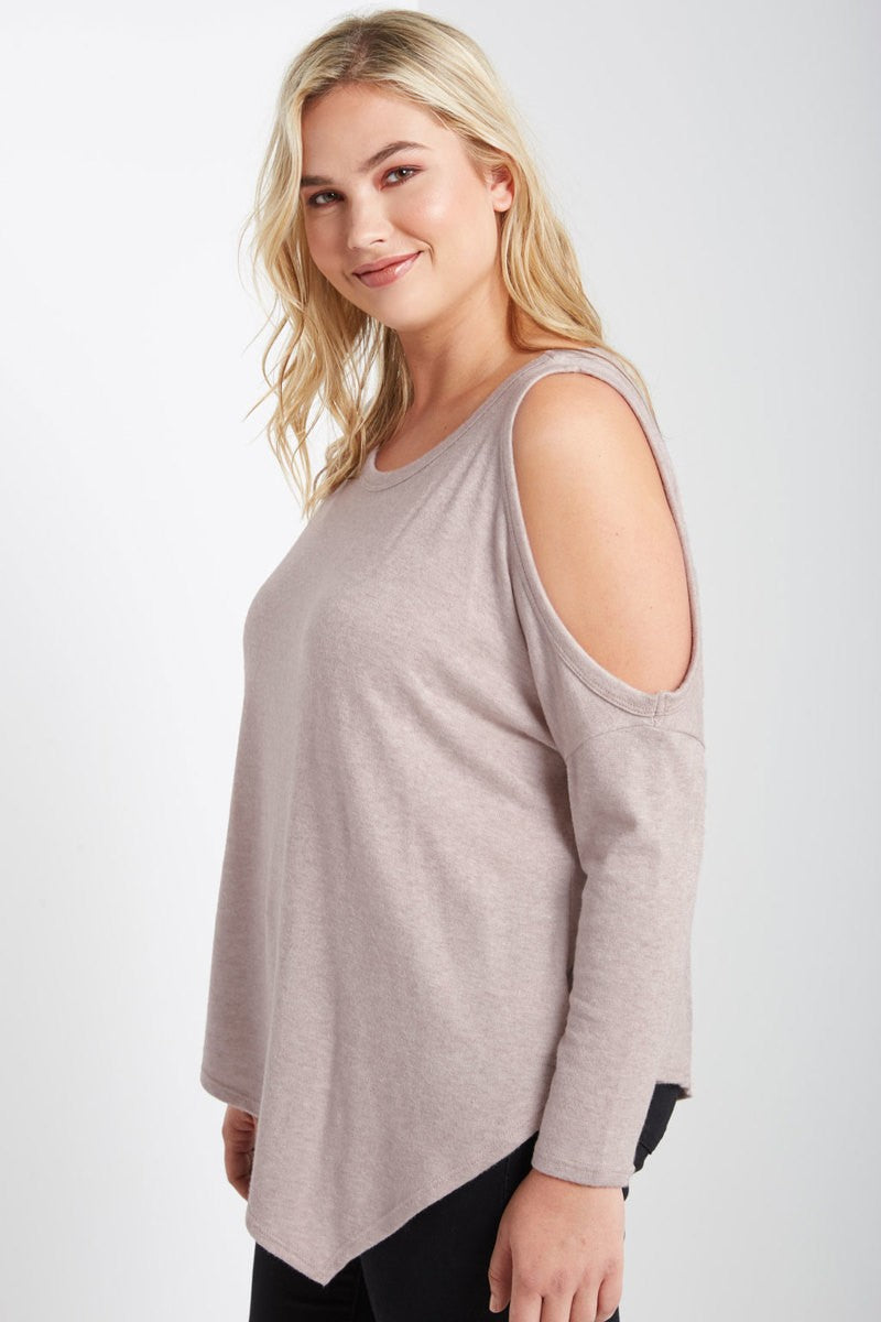 Cold Shoulder Sweater-PLUS