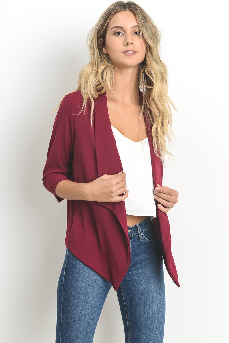Open 3/4 Sleeve Blazer