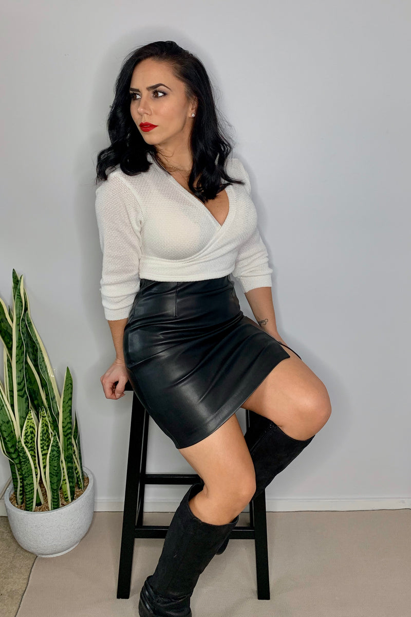 Holiday Fun-Faux Leather Skirt