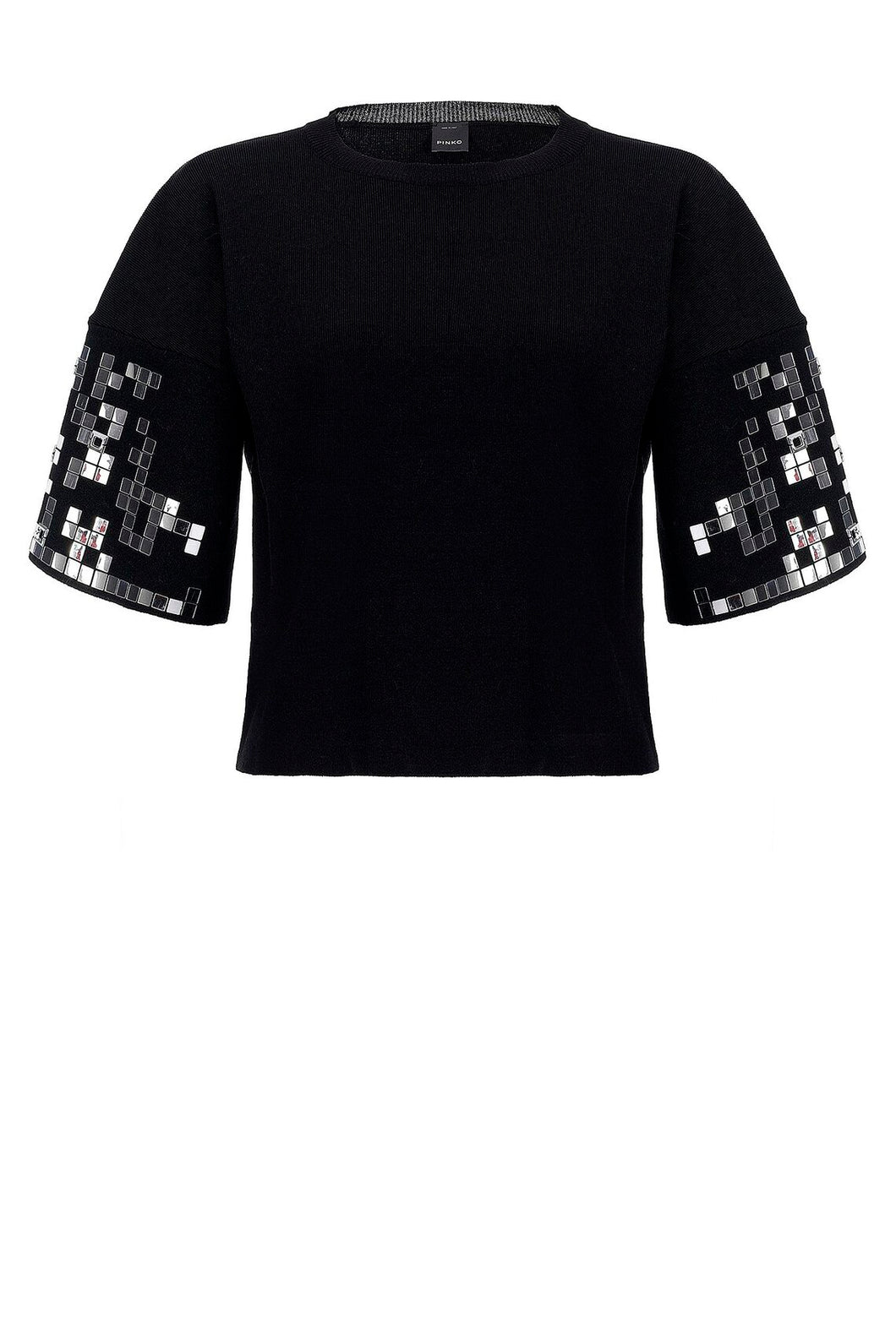Cropped Jumper with Appliquéd Mirrors