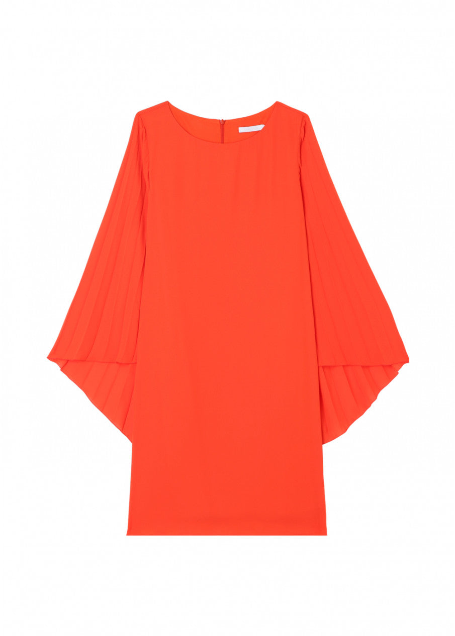 Orange Dress with Pleated Sleeves
