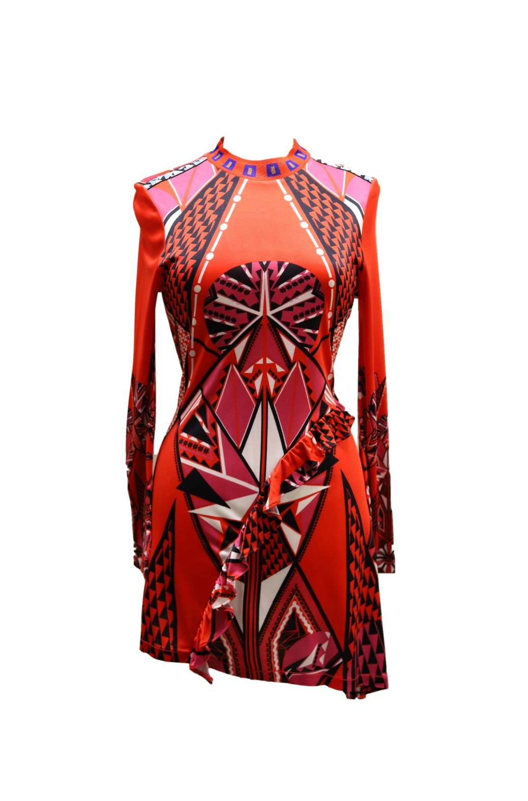 Long-sleeve Printed Dress with Ruffle