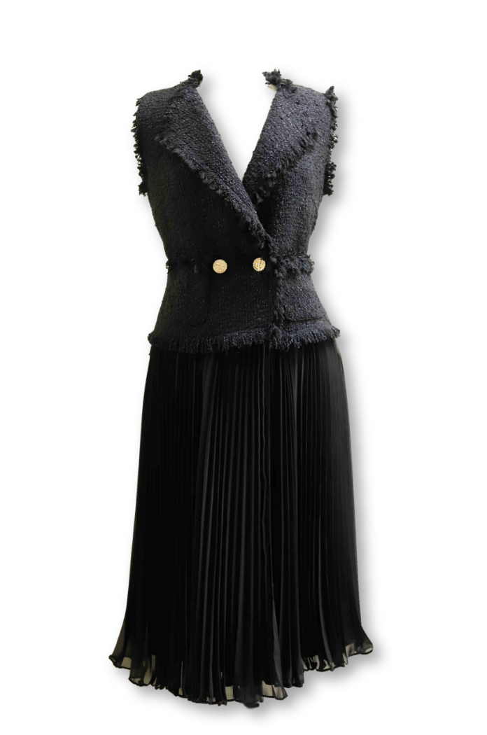 Tweed Black Dress with Pleated Skirt