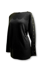 Black Wool Sweater with Studded Sleeve
