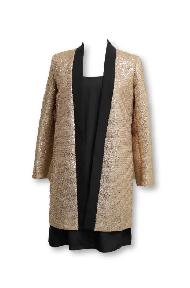 Gold Sequin Long Blazer with Black Trim