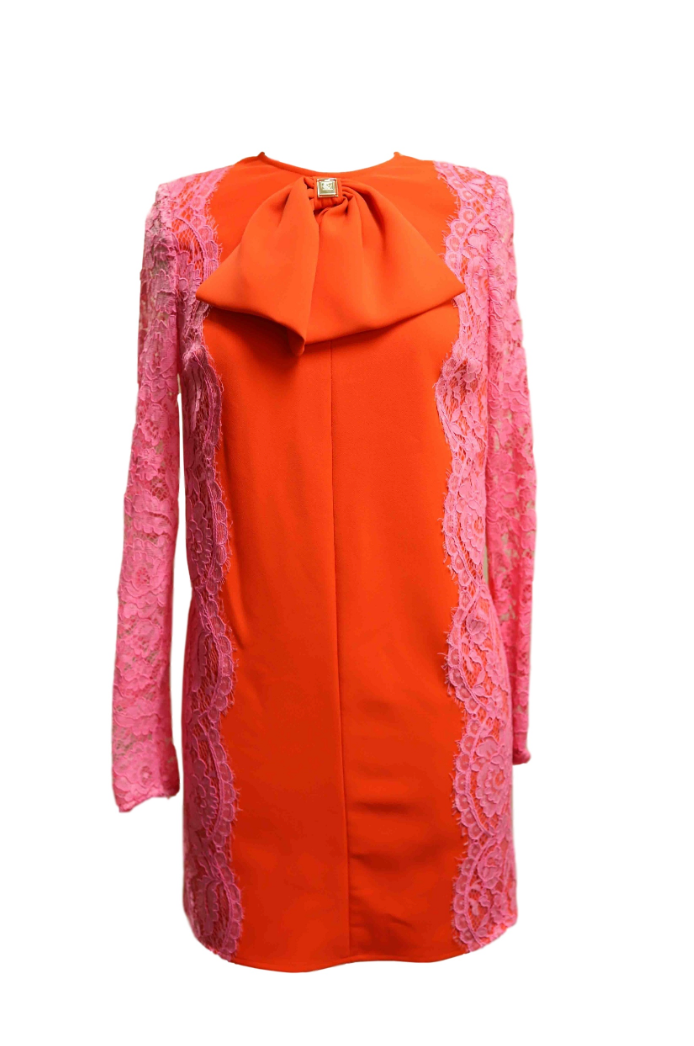 Orange and Pink Lace Sleeve Detail Dress