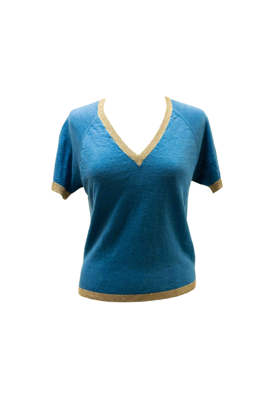 Blue Knit Blouse w/ Gold Trim