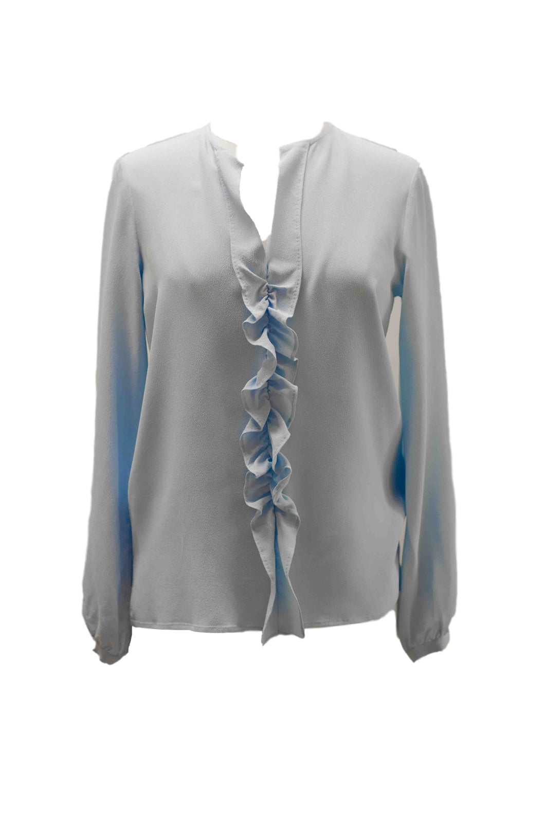 Light Blue Blouse with Ruffle