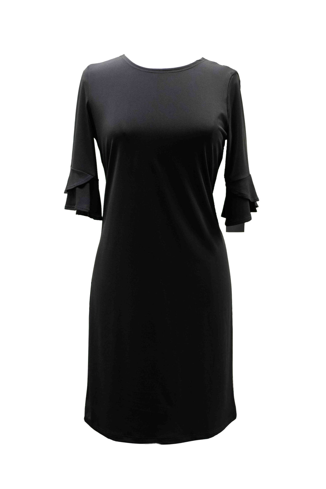 Black Knit Dress with Ruffle Sleeve Detailing
