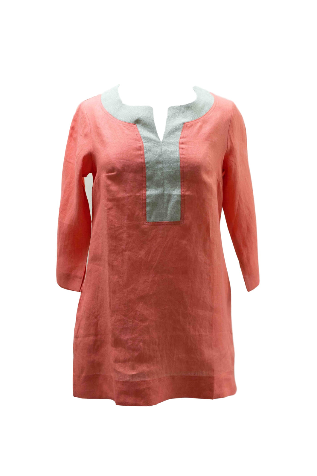 Coral Linen Blouse with Gold Trim