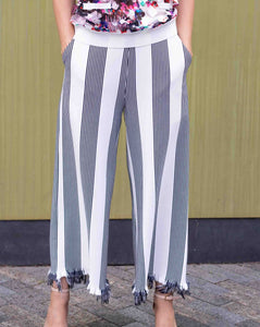 Striped Navy Pants with Fringe