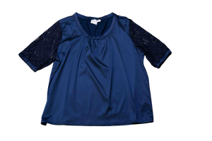 Navy Blouse w/ Lace Detailing