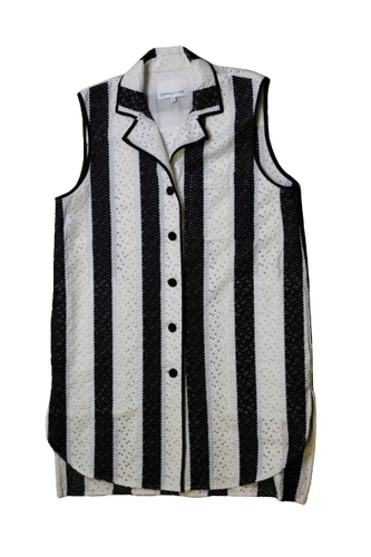 Black and White Button Vest Topper