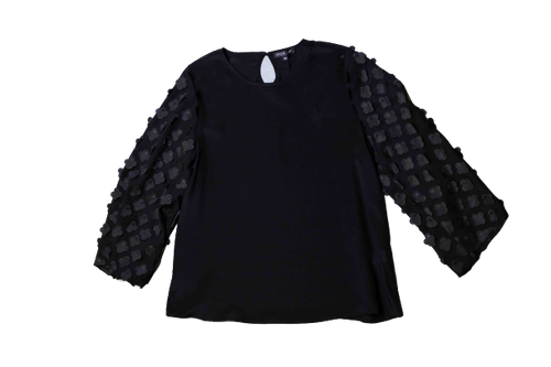 Floral Applique Black Blouse
