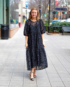Black Applique Maxi Dress