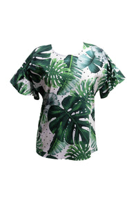 Tropical Top with Ruffled Sleevees