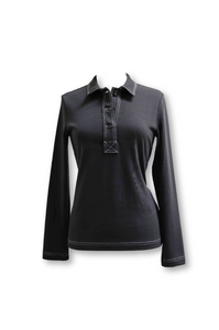Black Long-sleeve Collared Top