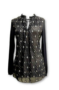 Black Blouse with Silver Detailing