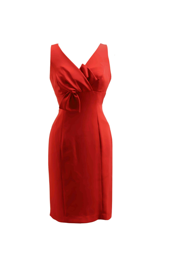 Red Dress with Tie Detailing