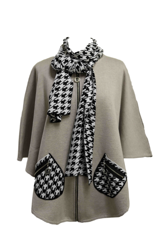 Neutral Poncho with Houndstooth Scarf and Detailing