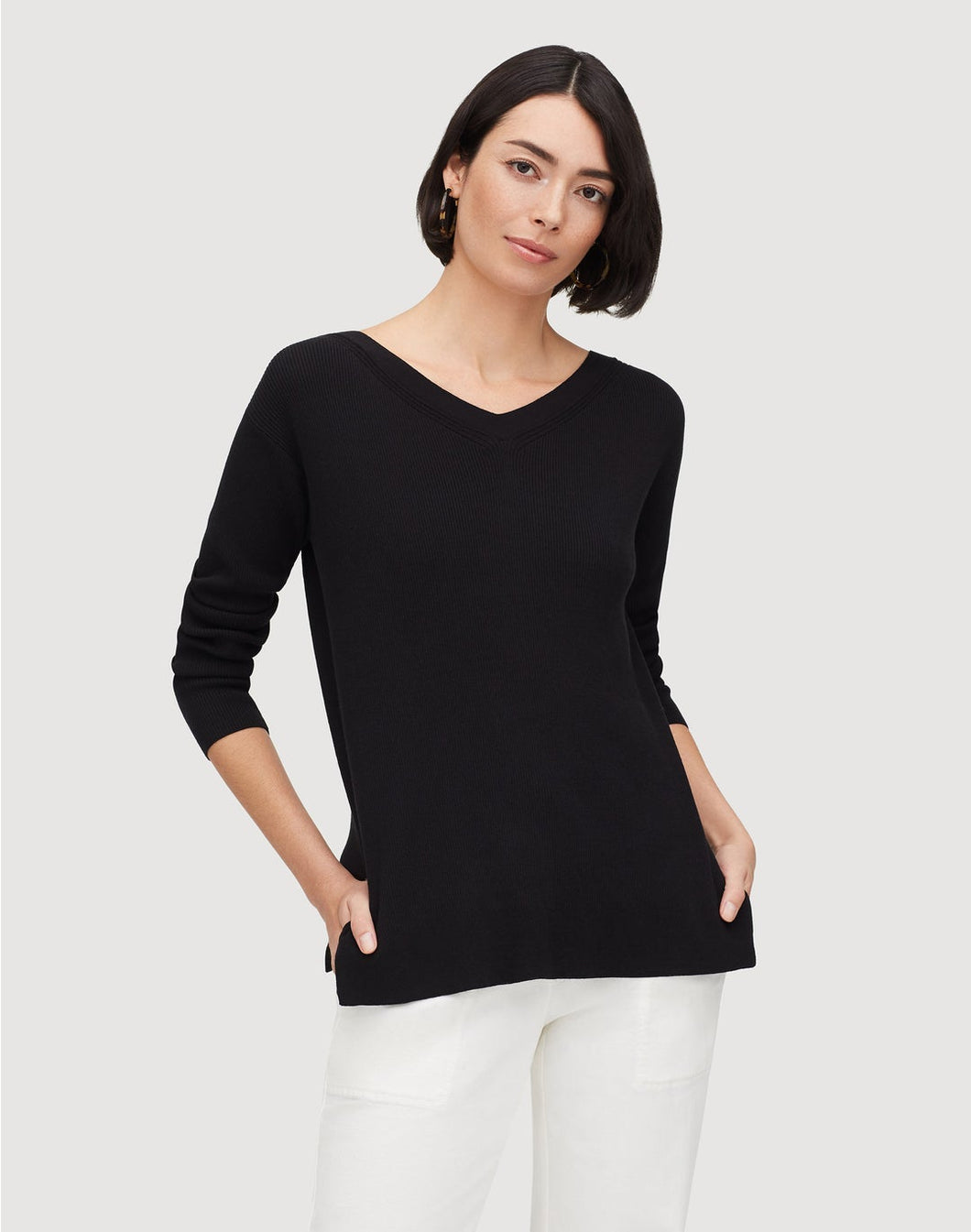 Matte Crepe Wide V-Neck Relaxed Sweater