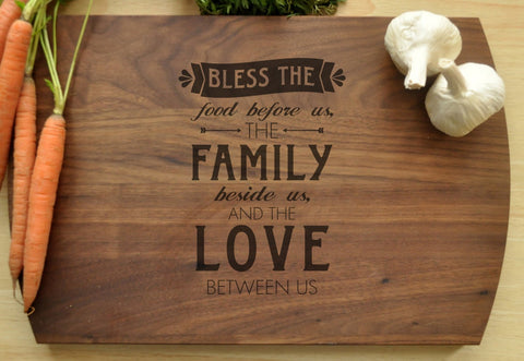 Bless The Food Cutting Board - Christian Cutting Board, Personalized Wedding Gift, Housewarming Gift, Bible Verse Cutting Board, Family Love-Circle City Design Co.