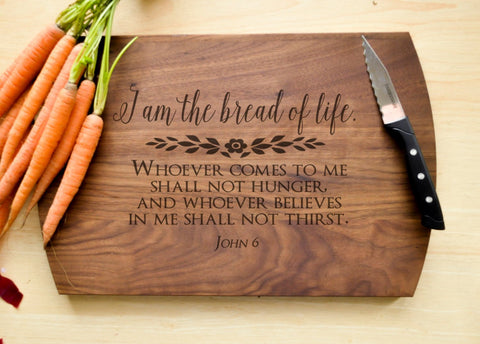 Bread of Life Cutting Board - Christian Cutting Board, Personalized Wedding Gift, Housewarming Gift, Bible Verse Cutting Board, Communion-Circle City Design Co.