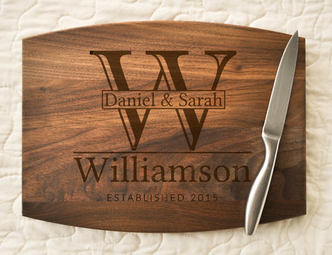 Couple Cutting Board, Engraved, Custom Cutting Board, Personalized Wedding Gift, Housewarming Gift, Anniversary Gift, Monogram, Personalized-Circle City Design Co.